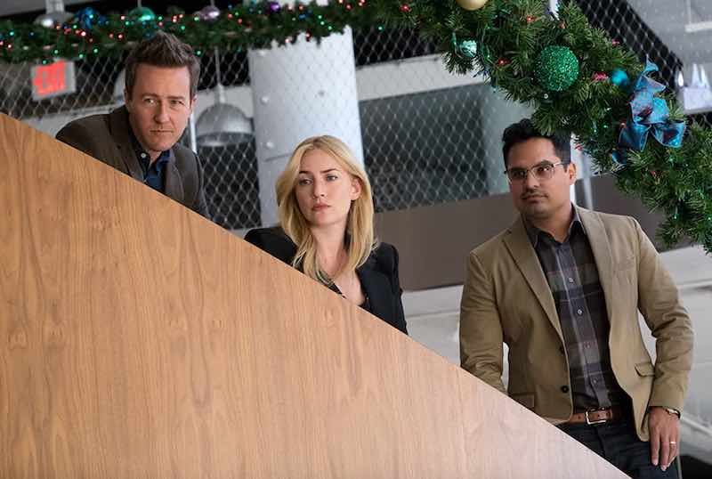 Kate Winslet, Edward Norton, and Michael Peña in Collateral Beauty