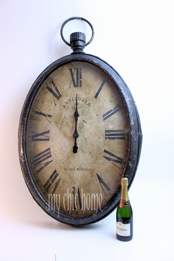 Large Oval Metal Wall Clock Pocket Watch Style Time Piece