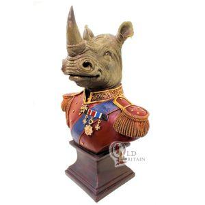 Red Coat Army Rhino Bust