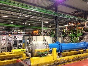 The blue tube is part of a particle accelerator at CERN