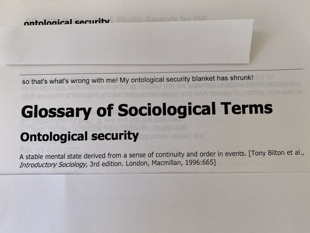 a photo of an email about ontological security.