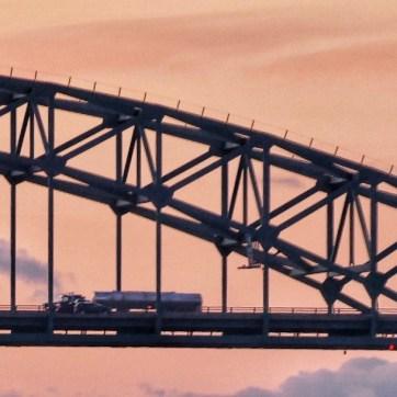 A arched steel bridge