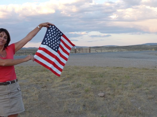 Robyn and the flag