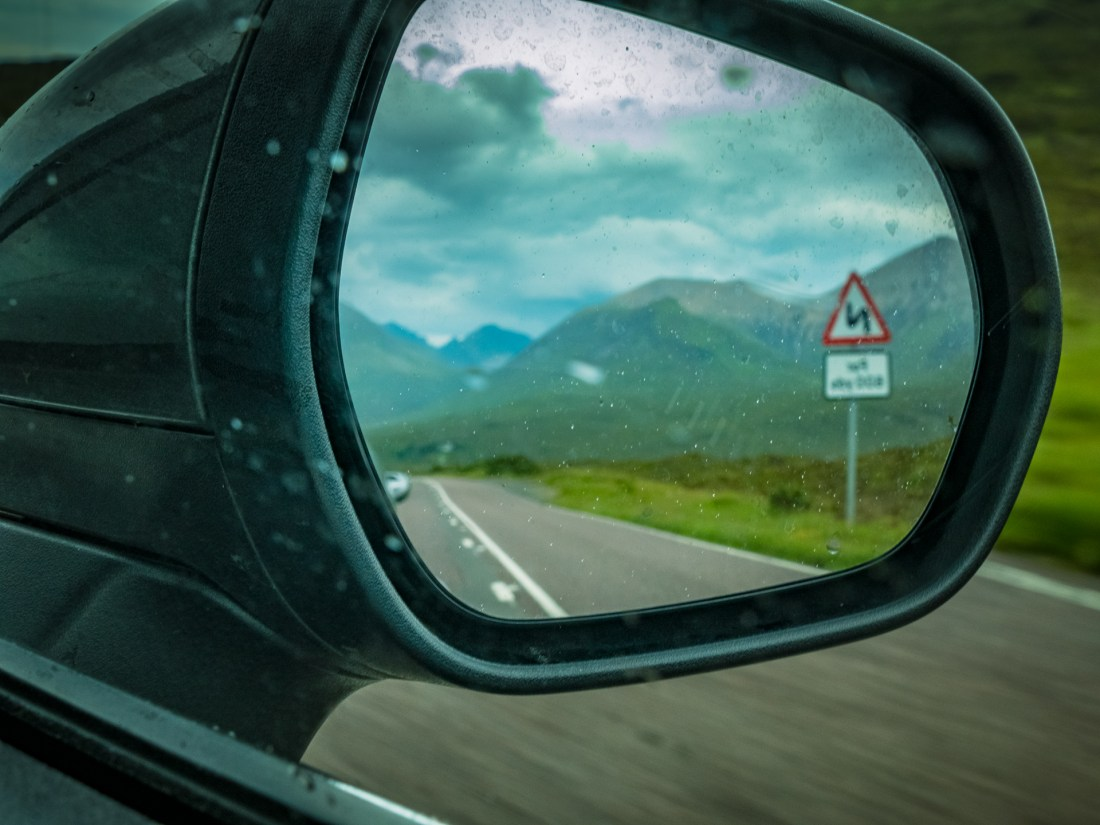 View in a car's rear view mirroe