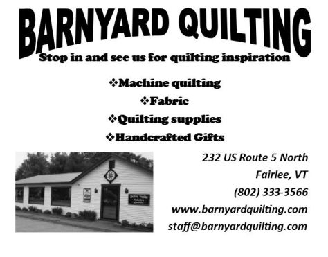Ad image for Barnyard Quilting on 232 US Route 5 North in Fairlee, VT