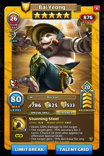 Image of Bai Yeong's Card and Details with 20 Emblems