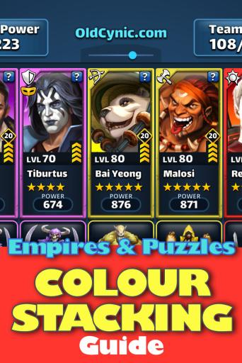 Screenshot of Empires and Puzzles Colour Stacking Guide