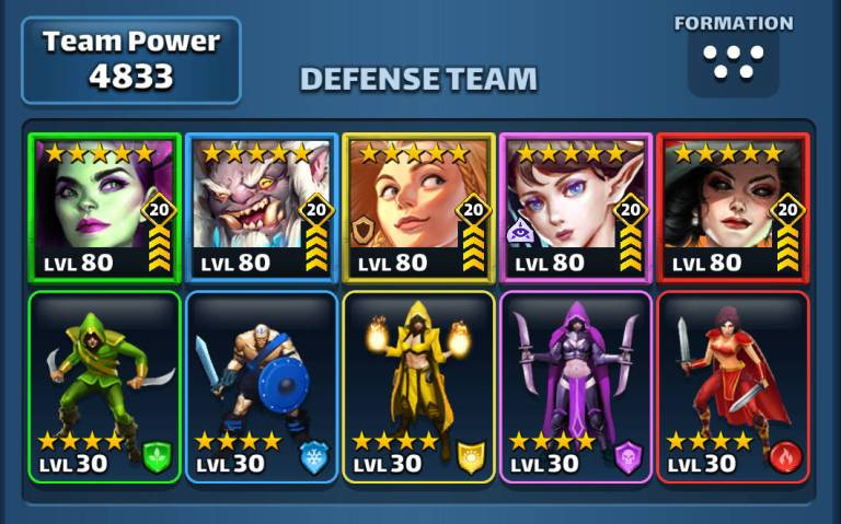 Screenshot of a top Empires and Puzzles defence team