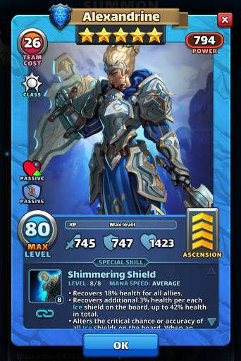 Screenshot of Alexandrine's Card with Special Skills from the mobile game, Empires and Puzzles