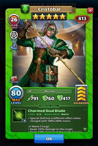 Screenshot of Cristobal's Hero Card from Empires and Puzzles