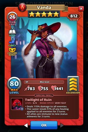 Screenshot of Costume Vanda Empires and Puzzles hero