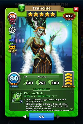 Screenshot of Costume Francine Empires and Puzzles Hero Card