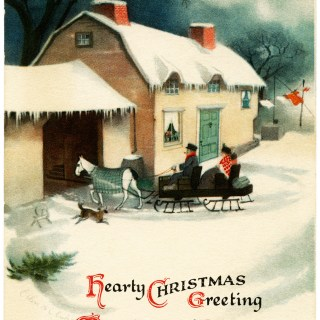 Horse Drawn Sleigh Vintage Clapsaddle Postcard