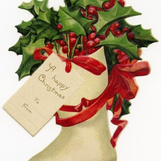 Victorian Stocking Filled with Holly