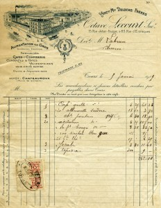 Octave Lecourt, antique cafe confiserie invoice, shabby digital ephemera, grungy paper graphics, old stamped French receipt