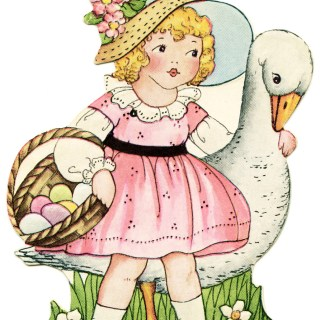 Girl in Pink with Goose Easter Card