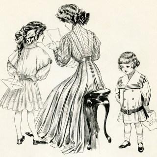 Children Reading Notes Vintage Clip Art