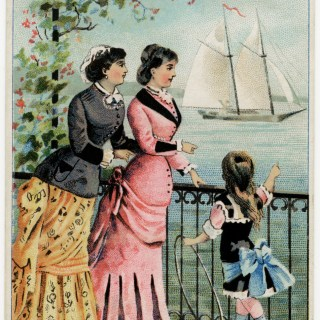 Victorian Ladies and Girl Watch Sailing Ships