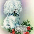 white puppy, free vintage clipart puppy, free digital image dog, white dog red flowers vintage image, public domain greeting card graphics
