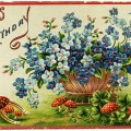 free vintage clipart flowers, blue flowers, red mushrooms, free vintage birthday postcard, old postcard digital, joyous birthday postcard, free vintage image