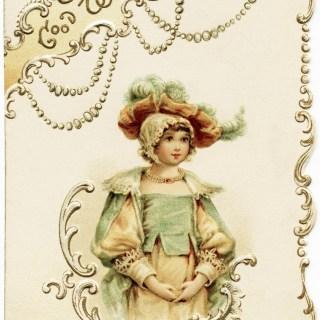 Victorian Girl Christmas Card