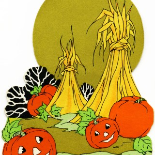 Pumpkins and Hay Stooks Clip Art