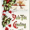 free public domain christmas postcard, old fashioned christmas, yule tilde greeting clipart, antique holly christmas image, vintage christmas graphic