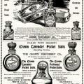 crown perfumery co, vintage christmas gifts, antique perfume ad, vintage beauty graphic, perfume and pocket salts image