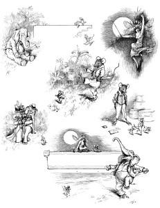 digital collage sheet, elephant image, mouse graphic, fairy illustration, alvred bayard island fable, storybook images