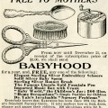 vintage magazine advertisement, antique babyhood ad, clipart spoon, clipart bonnet brush, clipart scissors, clipart music box, antique advertising