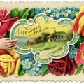 victorian calling card, vintage floral card, small vintage card, old fashioned card, hand and flowers graphic