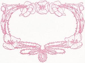 ornamental sketch, floral red frame, flowers illustration, flowers vintage clipart, swirly frame graphic