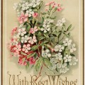 marcus ward co, antique greeting card, vintage floral card, best wishes greeting, pink white flowers graphic