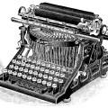 vintage typewriter, magazine ad, densmore typewriter, antique office machine image, black and white clipart