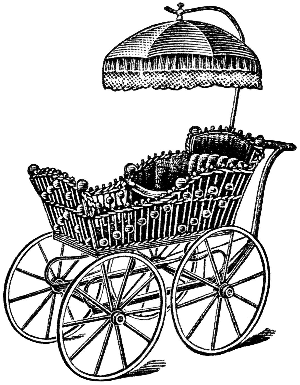 Free Vintage Image Elegant Baby Carriage