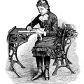 victorian school girl, vintage school clipart, old school image, free black and white clip art. girl sitting at desk