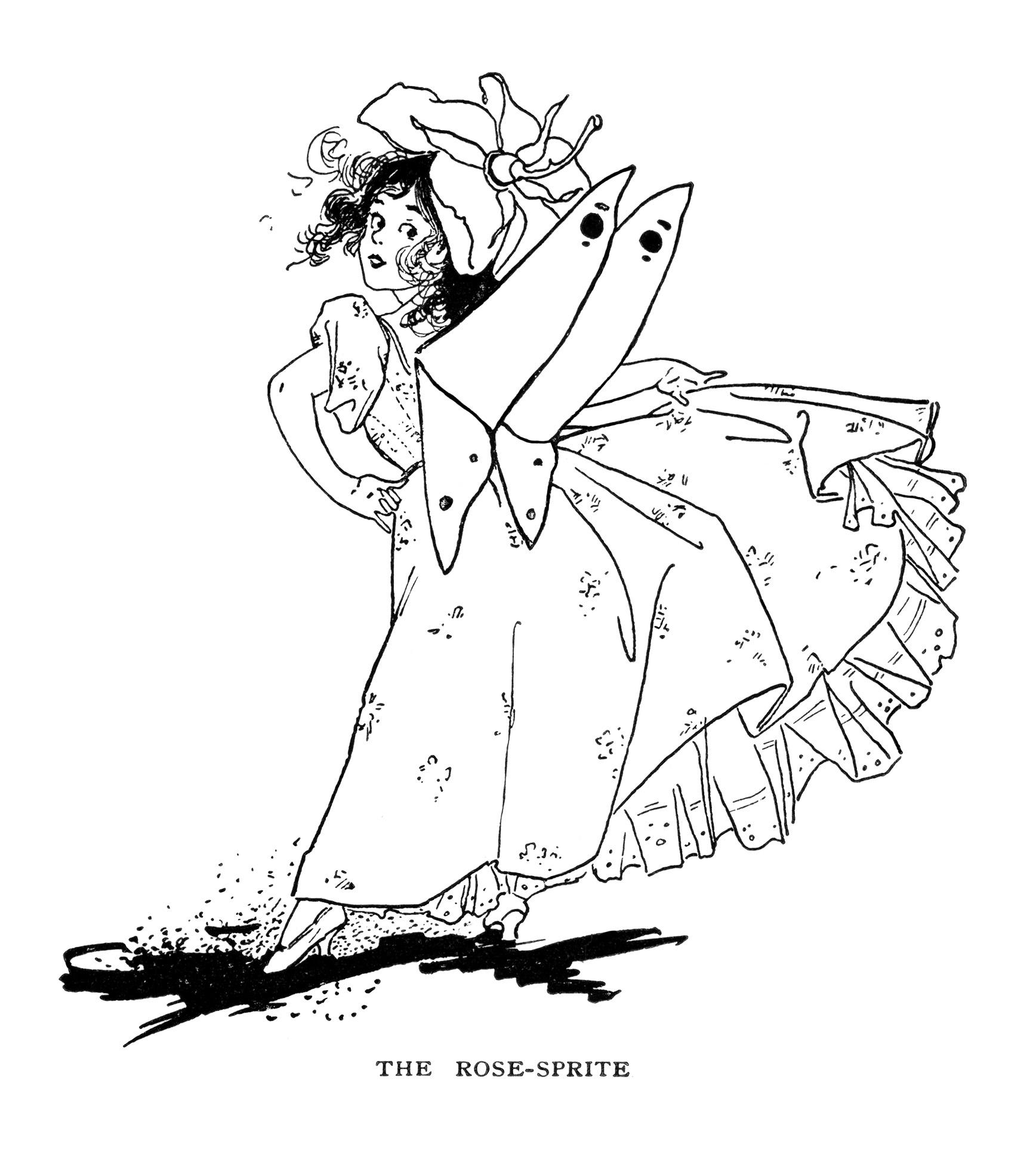 Free Vintage Image Rose-Sprite Fairy Clip Art   Old Design ...