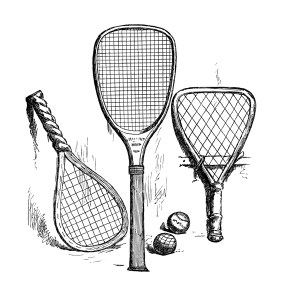 vintage tennis clip art, antique sports racket, black and white clipart, tennis ball image, old fashioned sports illustration