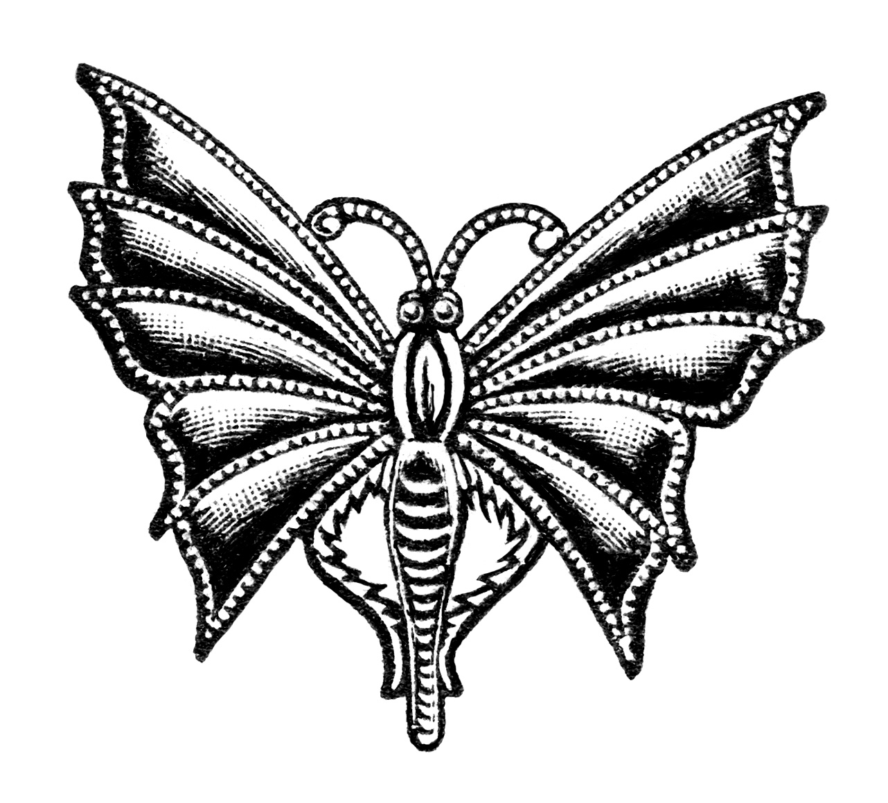 Free Vintage Image Butterfly Chatelette Pin