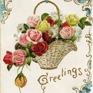 Basket of Flowers New Year Greeting Card