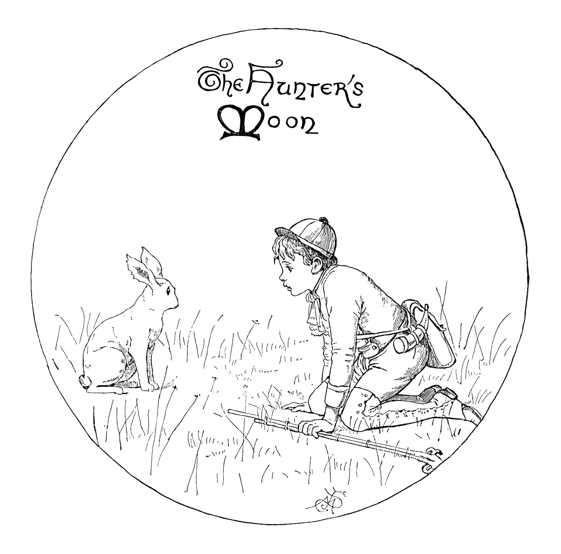 A Hunter S Moon Boy And Rabbit Clip Art