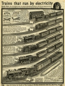 bing toy train, old catalogue page, vintage electric train image, 1916 Sears Roebuck, antique catalog toys