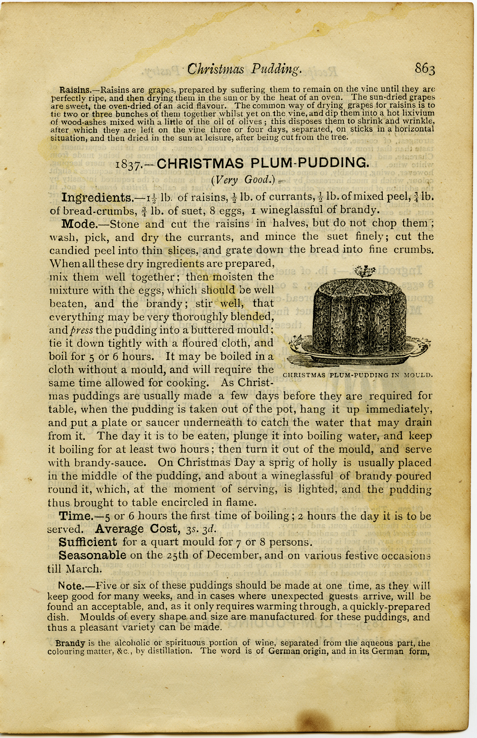 Christmas Plum Pudding Vintage Recipe And Clip Art Old