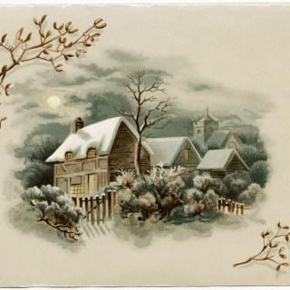 Winter Scene Victorian Card ~ Free Download