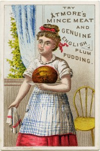 atmore trade card, victorian girl clip art, mince meat plum pudding, vintage advertising card, woman cooking clipart