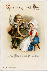 vintage clapsaddle postcard, john alden and priscilla, antique thanksgiving card, pilgrim children clipart, boy girl spinning wheel image