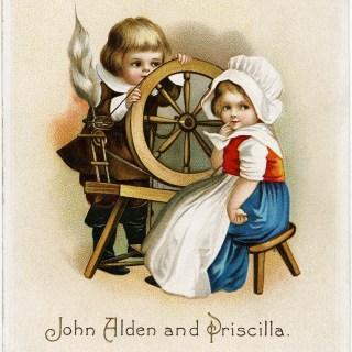 Free Vintage Clapsaddle Thanksgiving Postcard Graphic ~ John Alden and Priscilla