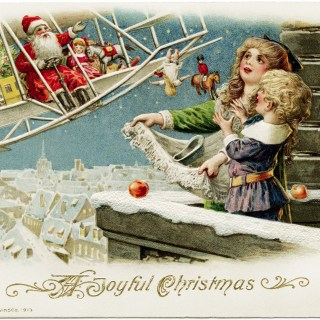 Free Vintage Christmas Postcard Image ~ Santa Delivering Gifts by Plane