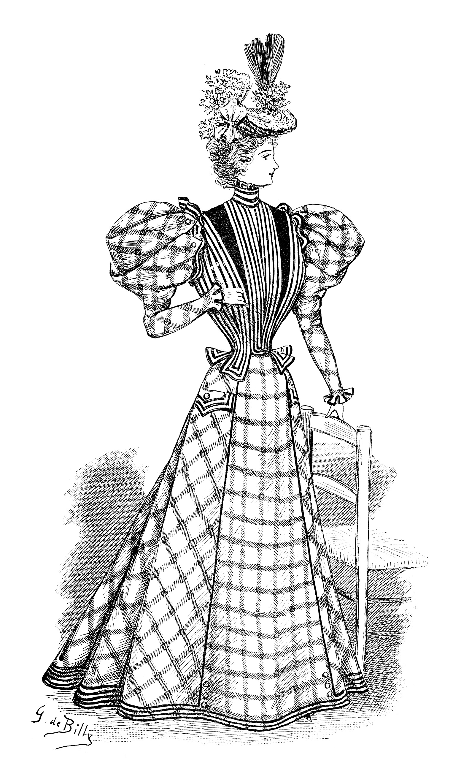 French Victorian Lady Free Clip Art