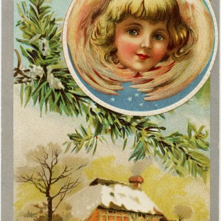 Vintage Christmas Postcard Graphic ~ Angel Over Snowy Country Scene